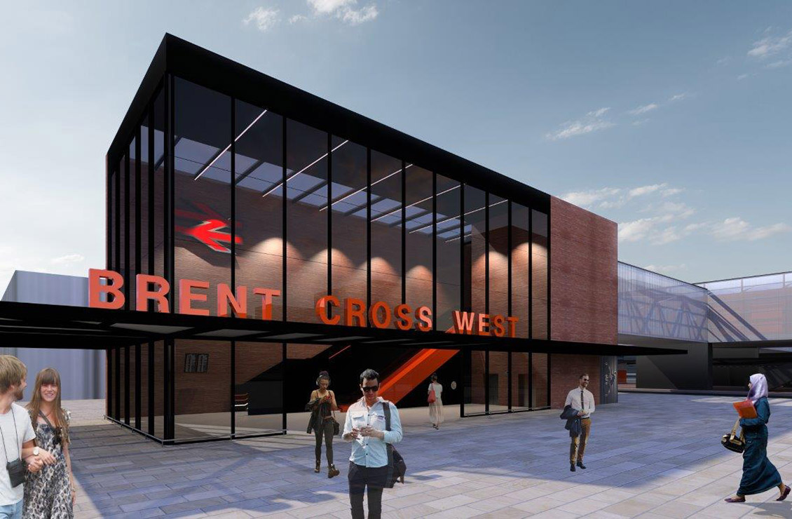 CG image of Brent Cross West exterior of station