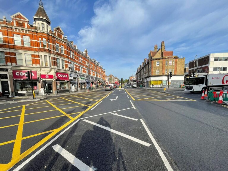 The completed road markings at Junction 2