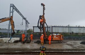 The piling work at Brent Cross West station