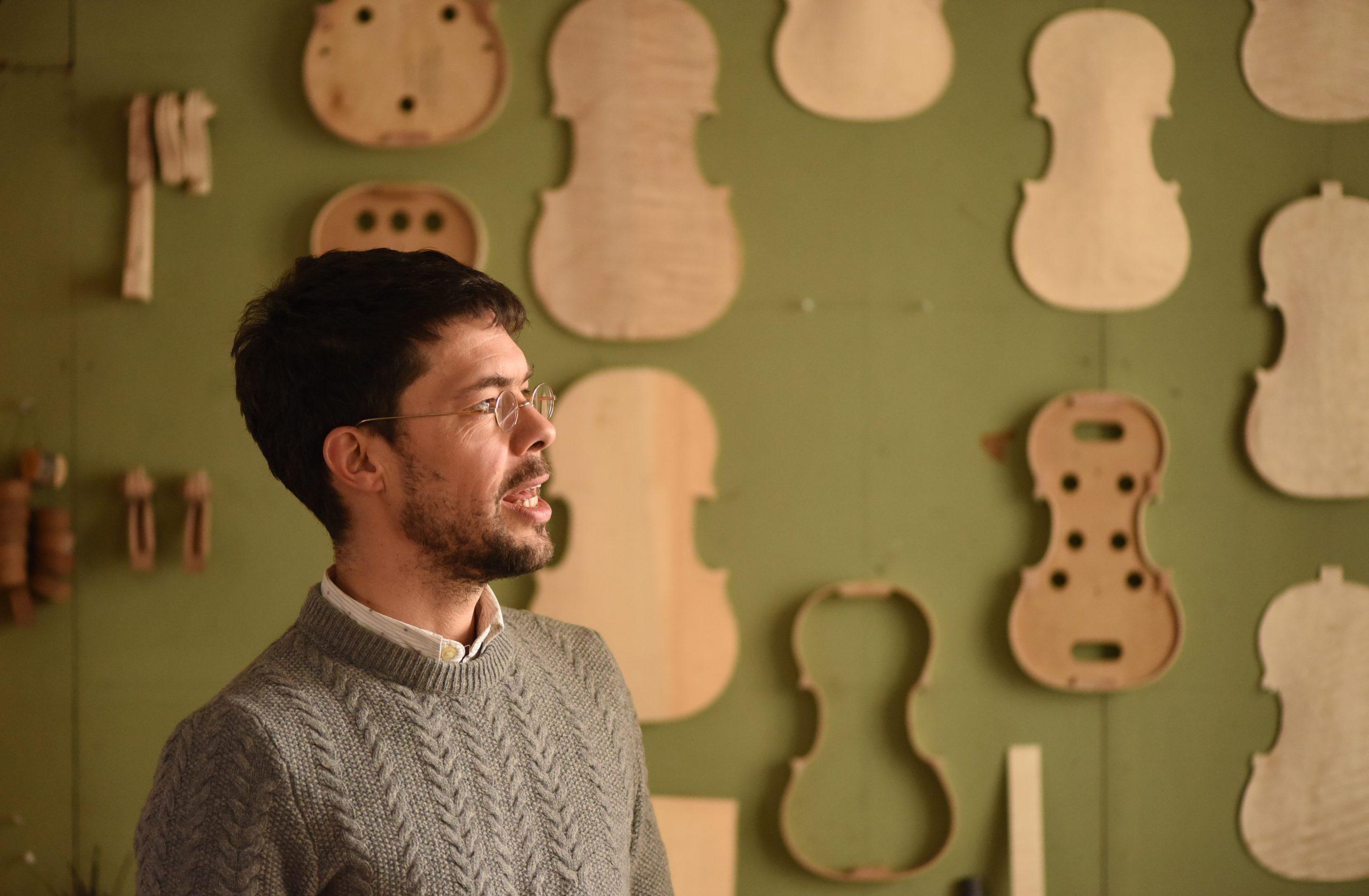 Philip Ihle iv in his violin workshop