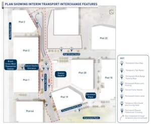 A map showing the interim Transport Interchange features