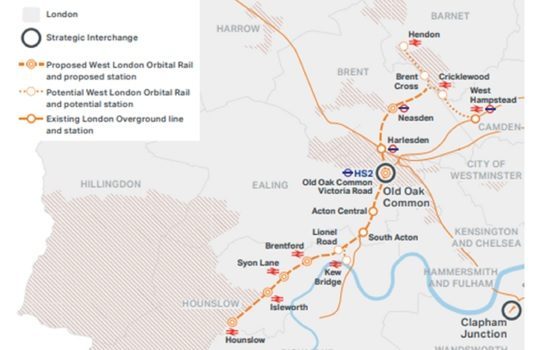 A map showing the proposed route of the West London Orbital line