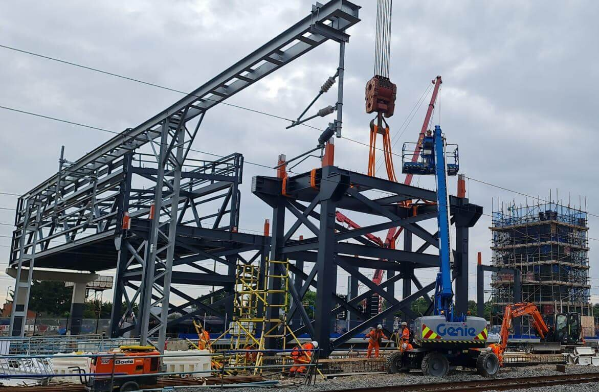 The overbridge being installed